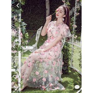 Baby pink 3D floral dress